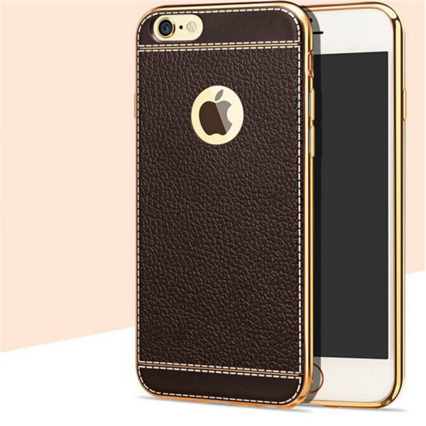 white trim brown leather iphone 7 case