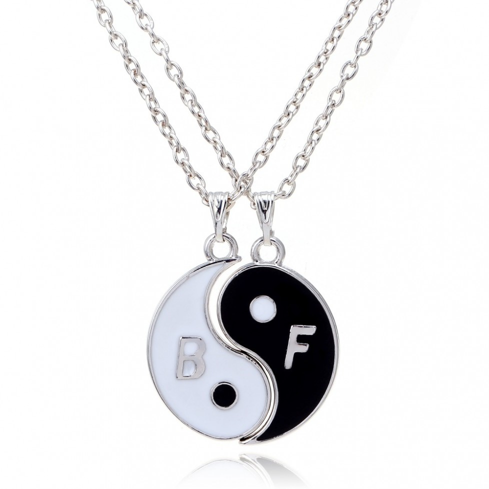 2 Piece B F Yin and Yang Best Friends Necklaces