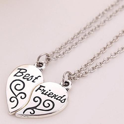 2 piece best friends heart pendant necklaces retailite 2 piece silver heart pendant best friends necklaces aloadofball Images