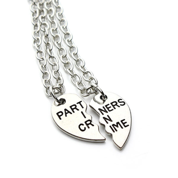 2 piece partners in crime best friends forever necklaces