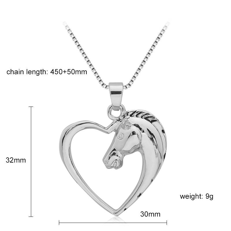 Silver plated heart horse pendant necklace retailite silver plated heart horse pendant necklace heart horse pendant necklace mozeypictures Gallery