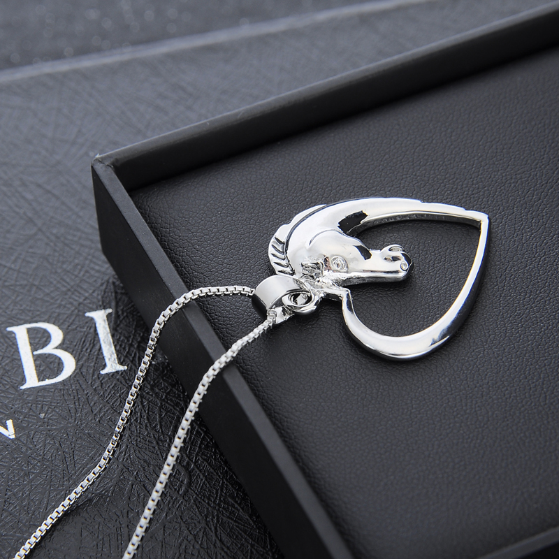 Silver plated heart horse pendant necklace heart horse silver plated necklace aloadofball Image collections