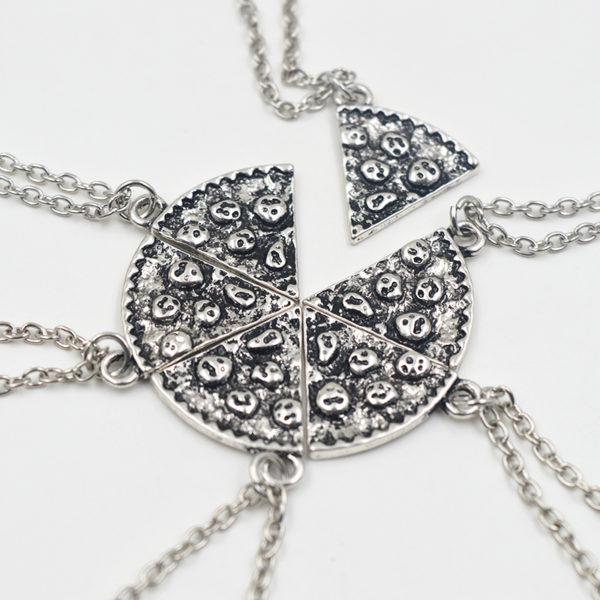 silver 6 pizza bff friendship necklaces retailite