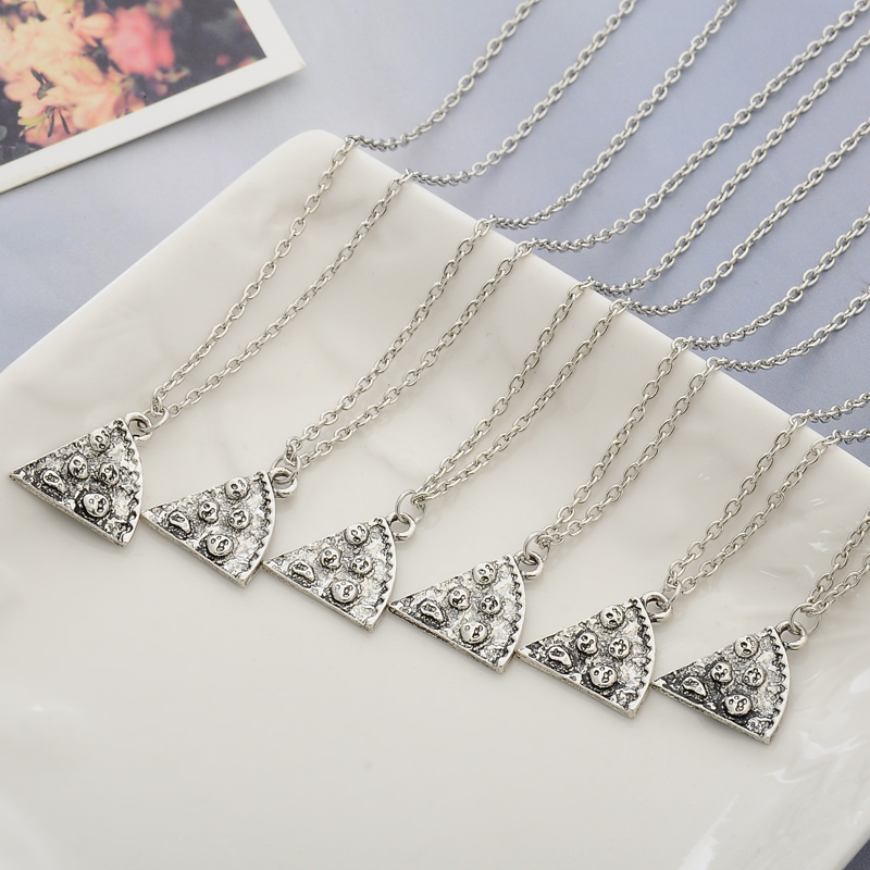 Friendship Pendant Necklace Silver 6 piece pizza bff friendship necklaces retailite silver 6 part pizza bff necklace 6pcs pizza pendant audiocablefo