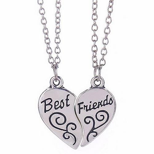 Silver Heart Pendant Best Friends Necklaces