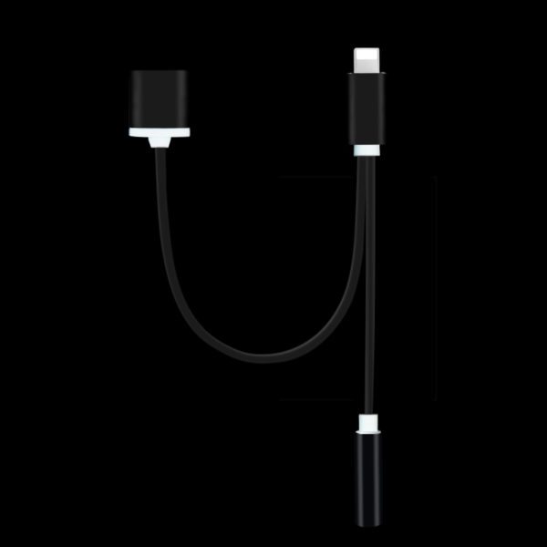 Black iPhone 7 7 Plus Headphone and Lightning Port Adapter