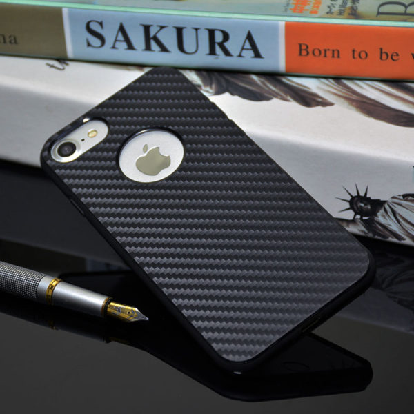 Carbon Fiber iPhone 7 Case with Apple Logo Hole