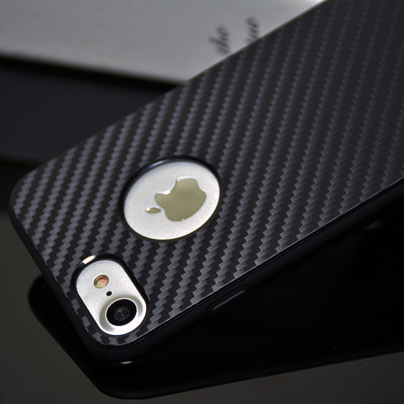 Carbon Fiber Iphone Case >> Carbon Fiber Iphone 7 8 Soft Case With Apple Logo Hole