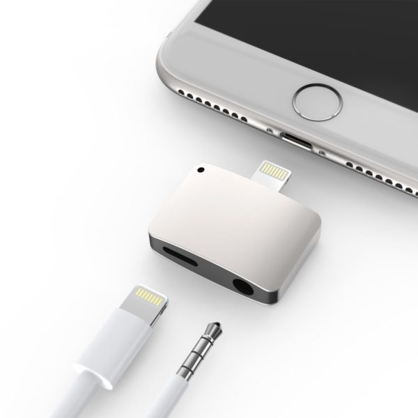 Silver iPhone 7 7 Plus Lightning port to 3.5mm Headphone Jack and Lightning port adapter