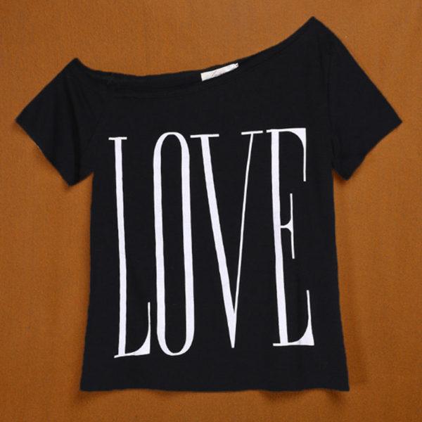 Black LOVE one shoulder women's t-shirt