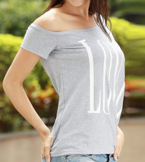 Grey LOVE women's one shoulder t-shirt