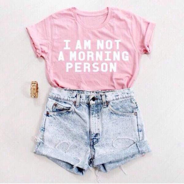 I am not a morning person t-shirt in Pink