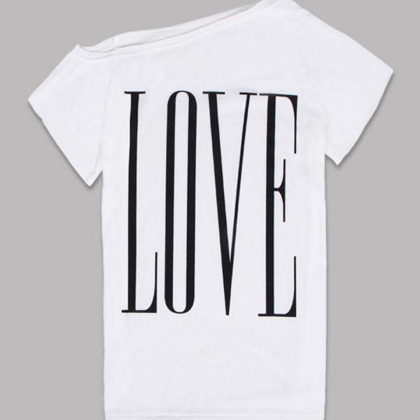 White LOVE off the shoulder women's shirt