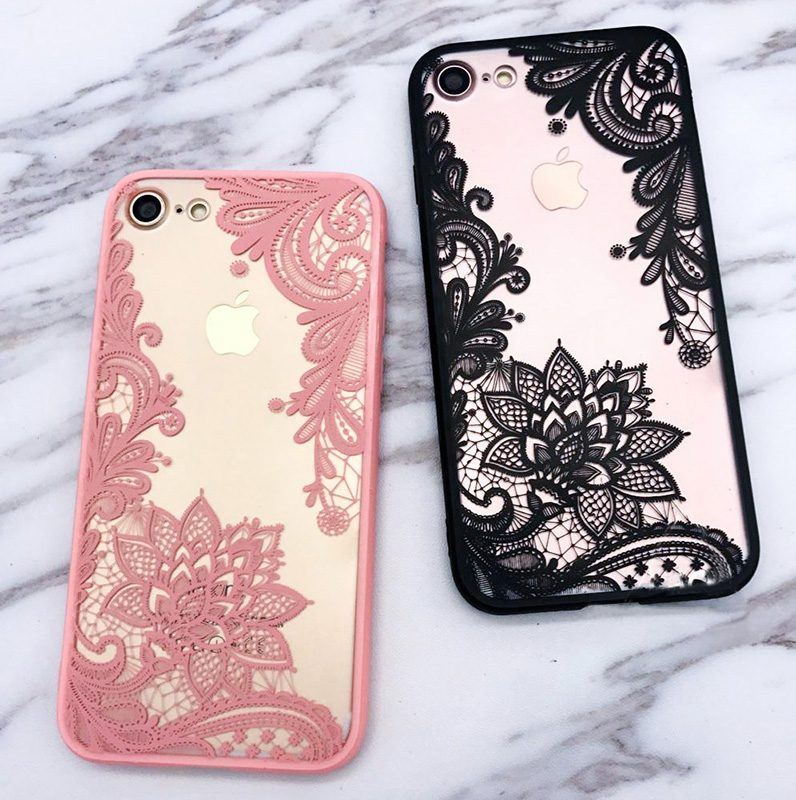 pink and black lace iphone 8 cases