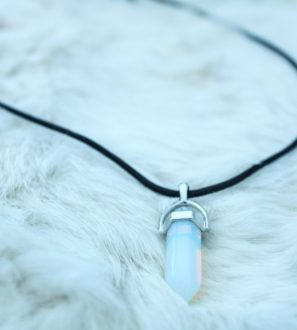 opal black leather necklace