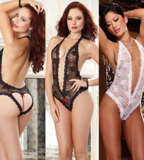 One Piece Lace Lingerie Swimsuits in Black and White
