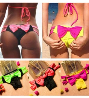 Pink Green and Yellow Women's Bow bikini bottoms