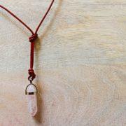 rose quartz brown leather necklace