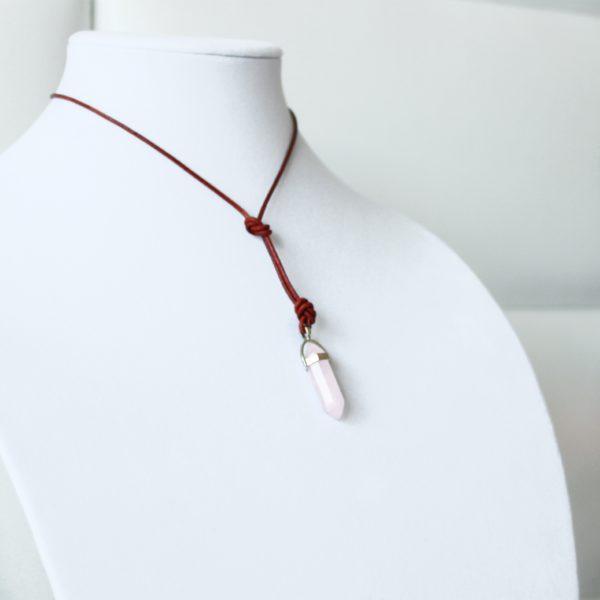 pink rose quartz necklace