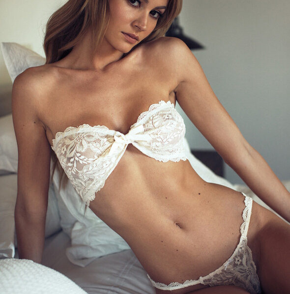 White lace up lingerie swimsuit