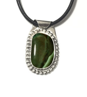 Sterling Silver and Authentic Natural Green Turquoise Pendant on Leather Necklace