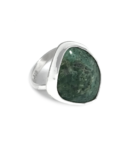Boho Style Green Variscite Mineral Sterling Silver Ring