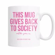 Pink giving back coffee mug