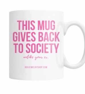 Pink giving back coffee mug