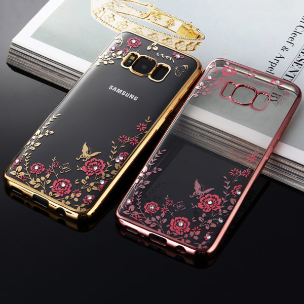 flowers gold rose gold chrome framed samsung galaxy s8 s8 plus case