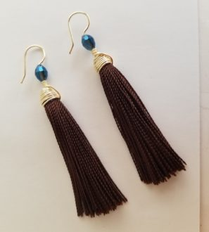Handmade Brown Tassel Earrings