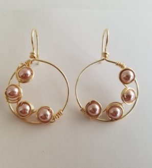 handmade gold pink pearl earrings
