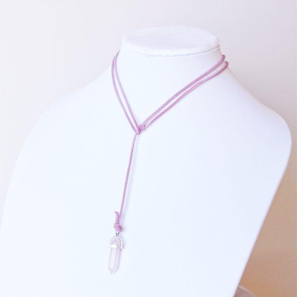 vegan suede pink necklace
