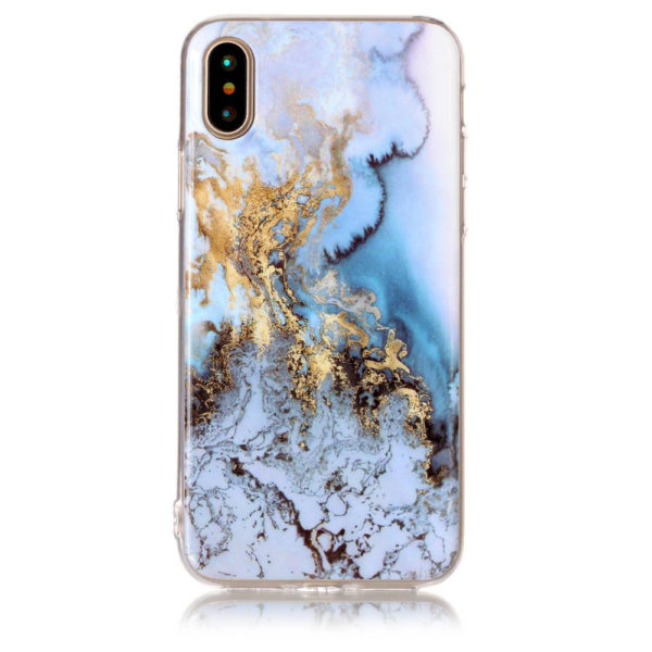 blue and gold marble iphone 7 8 plus X Case