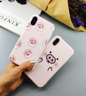 cat and pig iphone 7 Plus 8 Plus X Case