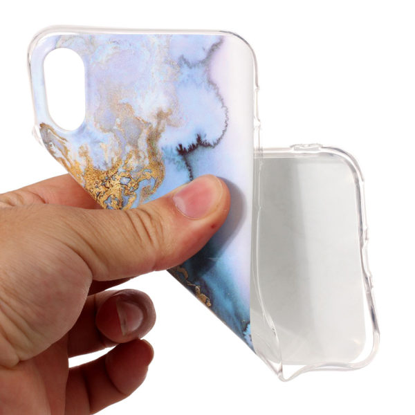 gold blue marble iphone 7 8 plus X Case