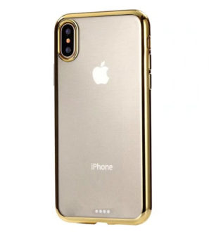 gold chrome framed clear iphone x case