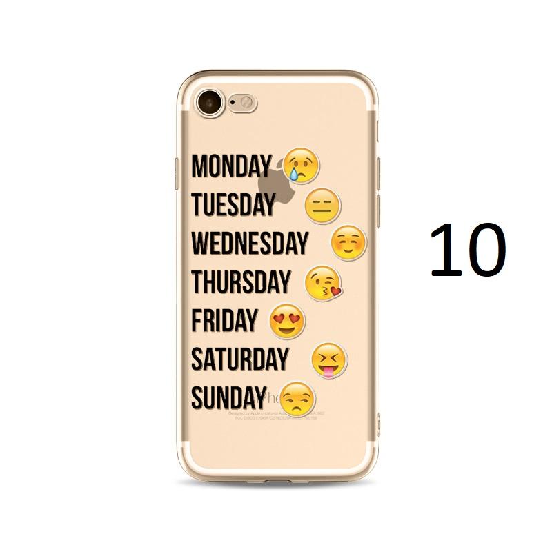 monday tuesday wedneday thursday friday saturday sunday emoji iphone x 8 7 plus case