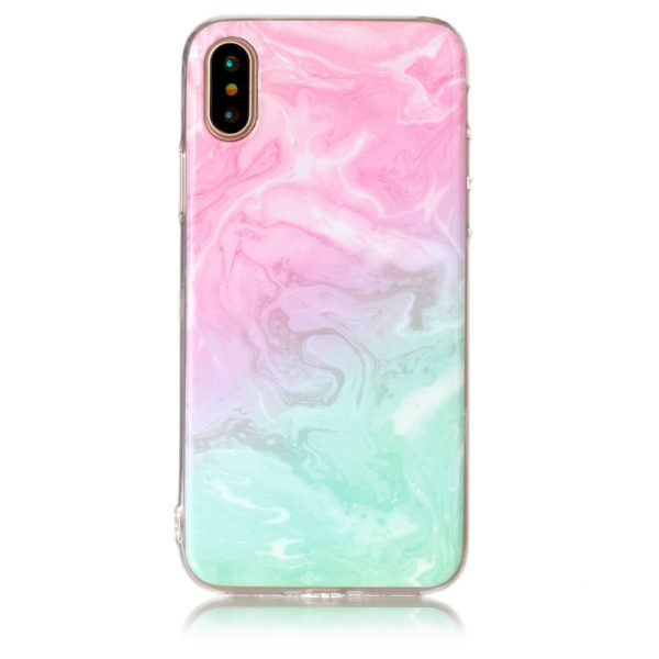 pink purple and green marble iphone 7 8 plus X Case