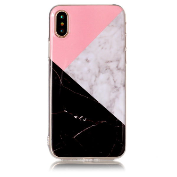 polygonal triangle pink white and black marble iphone 7 8 plus X Case