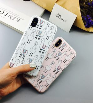 white and pink llama iphone 7 8 plus X Case