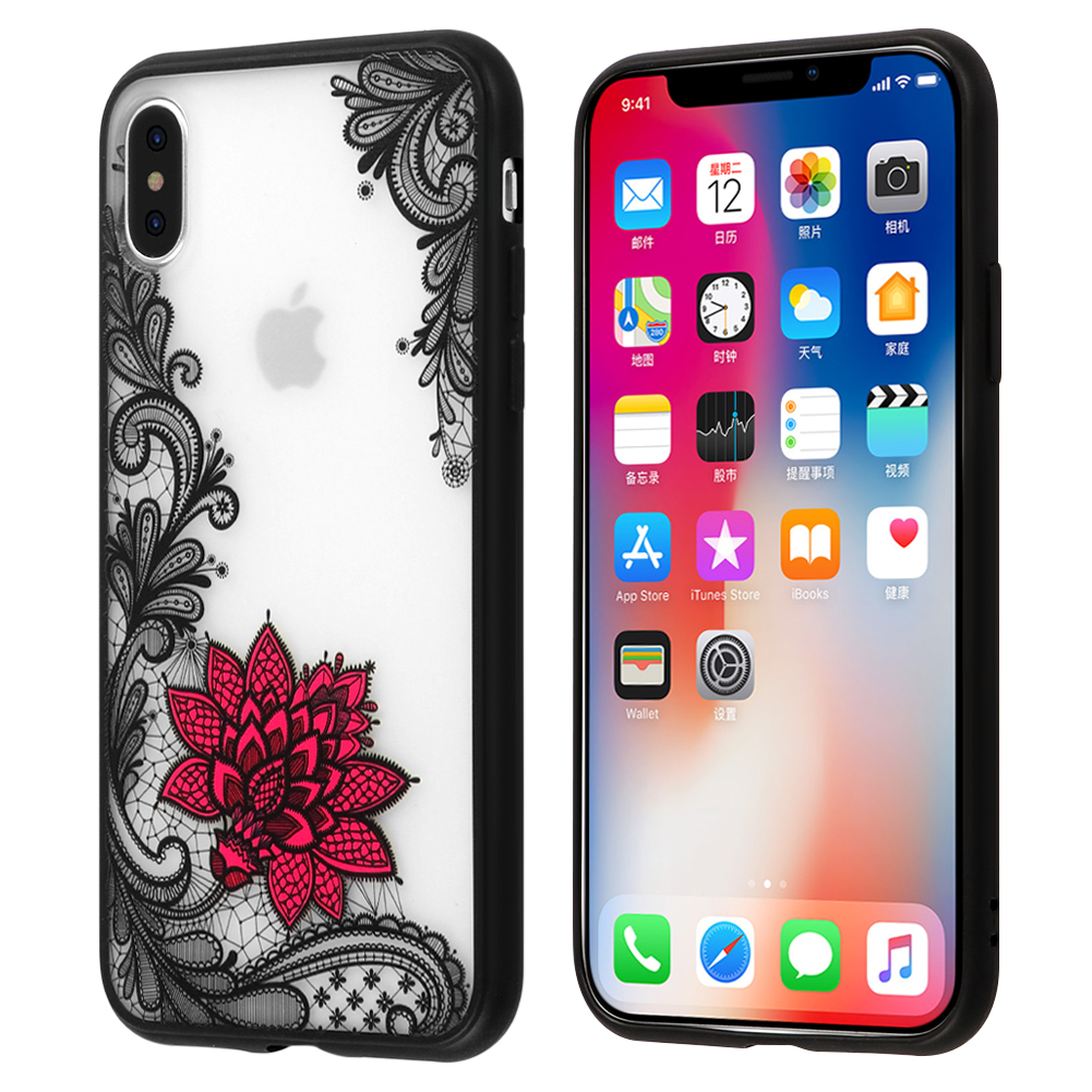 Black Lace Pink Flower iPhone X case