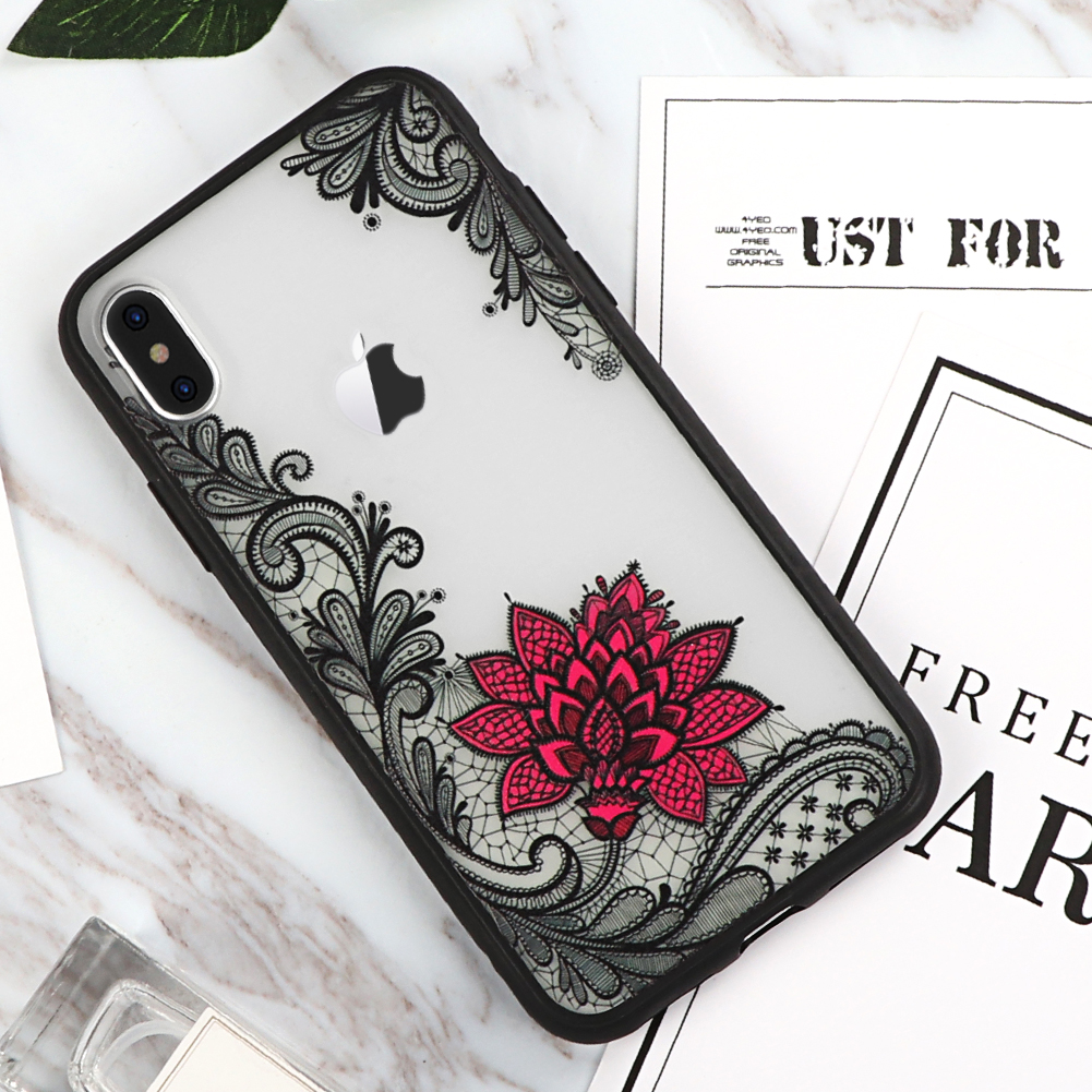 Black Pink lace iPhone x case