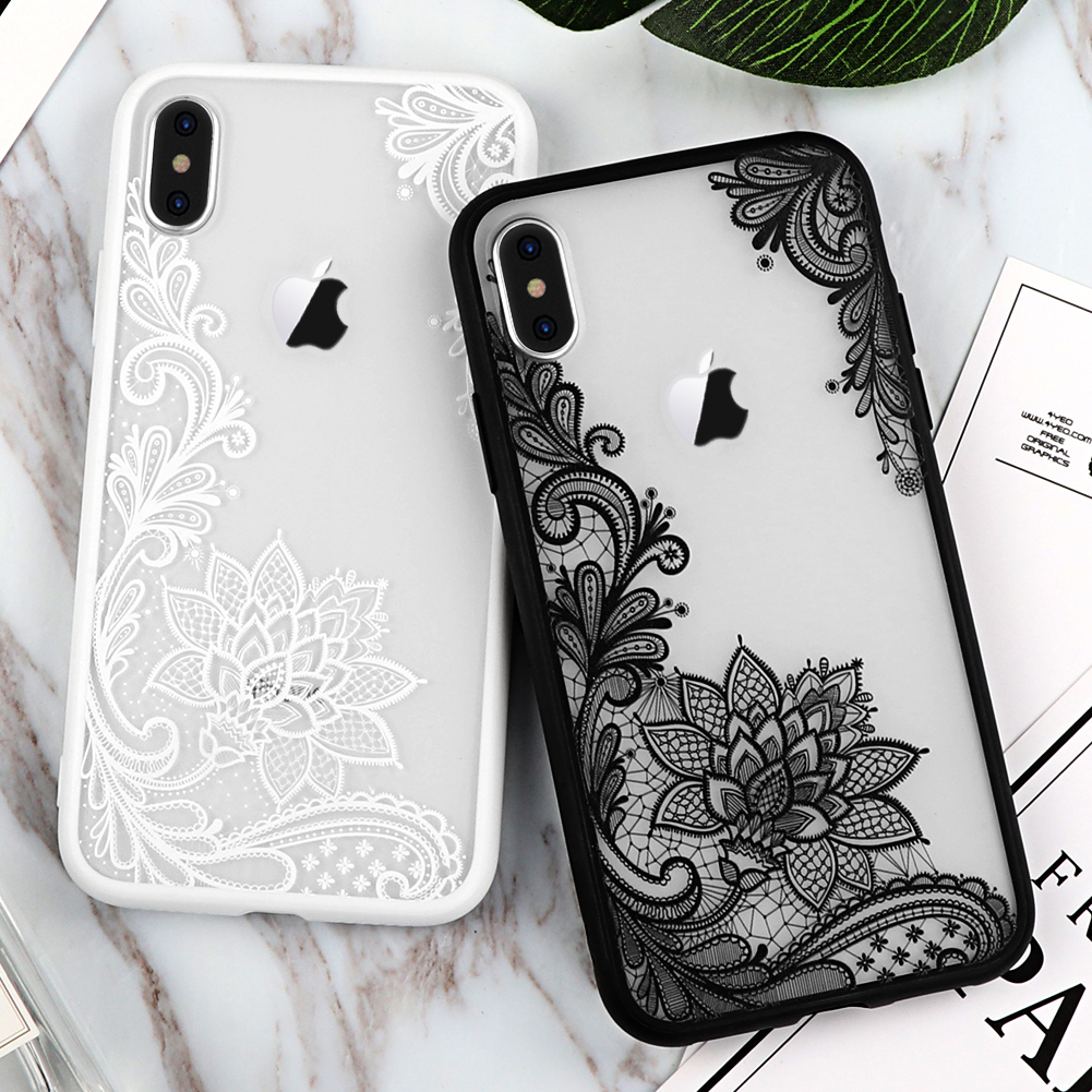 black white lace iphone x case
