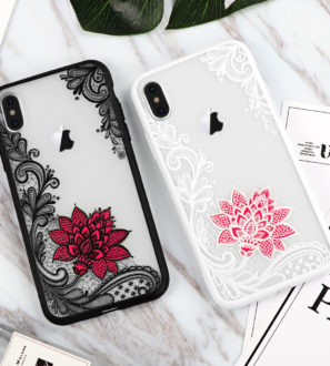 black white pink lace iphone x case