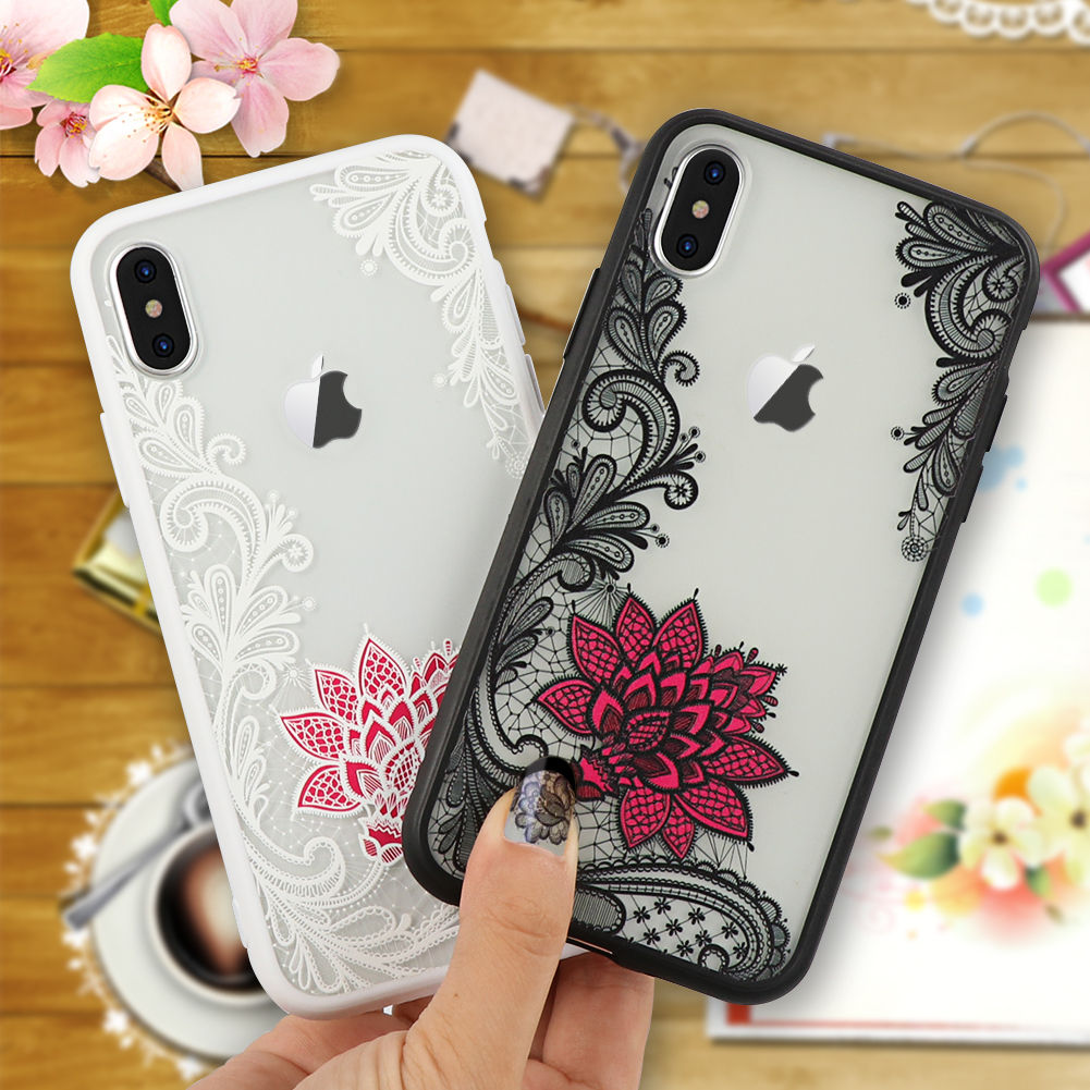 white pink black lace iphone x covers