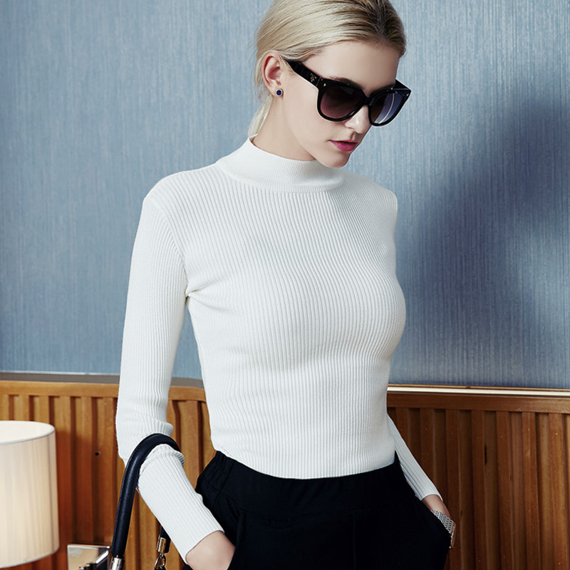 white vertical ribbed women's short turtleneck sweaters