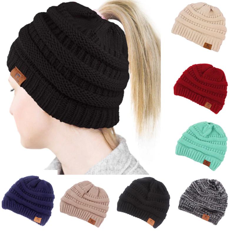 Women s Ponytail Hole Beanie Skull Cap Hats - Retailite 5a1b0263ab4